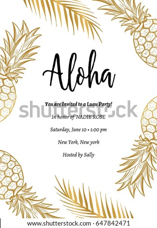 tropical aloha summer party invite aloha stock vector royalty free