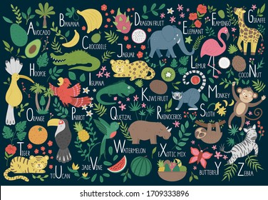 Tropical alphabet for children. Cute flat ABC with jungle animals, fruit, birds, plants. Horizontal layout funny poster for teaching reading on dark blue background - Shutterstock ID 1709333896