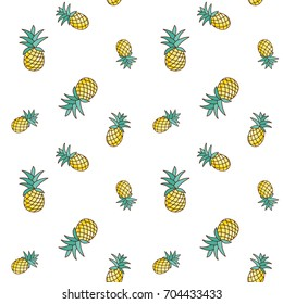 Tropical ananas pineapple fruit seamless pattern on white background. Vector illustration for textile print, wallpaper, fashion design