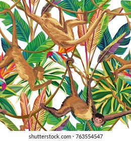 Tropical animals Monkey in the jungle seamless pattern on the white background. Beach vector wallpaper