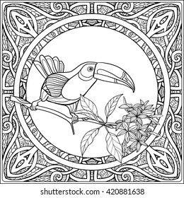 Tropical animals and plants on decorative pattern background. Outline drawing. Vector illustration. Good for adult coloring book