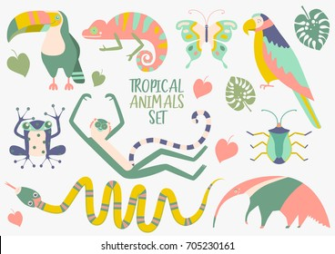 Tropical animals vector set. Cute characters for children's books or cards