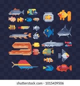 Tropical aquarium fish. Set of sea animals characters. Pixel art 80s style isolated vector illustration. Cartoon flat style fish icons. Element design for mobile app and sticker. Game assets.