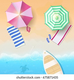 Tropical background, blue ocean landscape.Vacation, relax. Vector illustration EPS10.