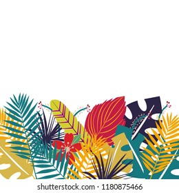Tropical background with colorfull leaves. Herbal design with plants for cards, invitation, posters, greeting design with blank space for a text