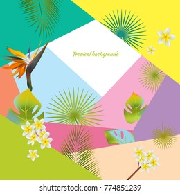 Tropical background. Exotic flowers and leaves. Vector illustration.