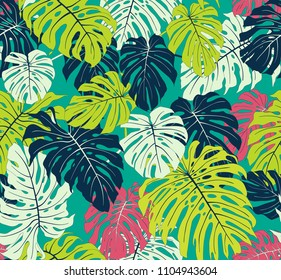 Tropical background. Floral seamless colorful monster leafs
