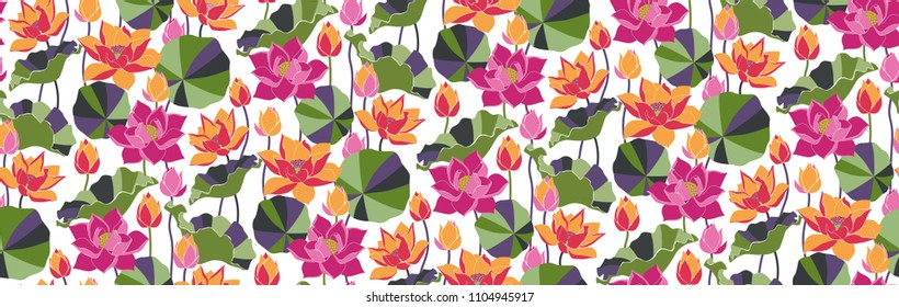 Tropical background. Floral seamless colorful lotus flowers