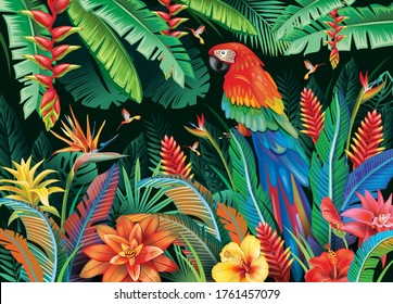 Tropical background from flowers leaves and parrot