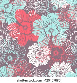 Tropical background with flowers. Seamless pattern.