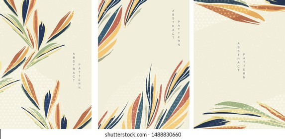Tropical background with geometric pattern vector. Leaves template with Japanese elements.