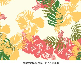 Tropical background. Green, pink, red, yellow monstera, hibiscus, palm vector elements. Hawaiian exotic cover template. Summer botanical backdrop. Vintage print with tropic floral jungle texture.