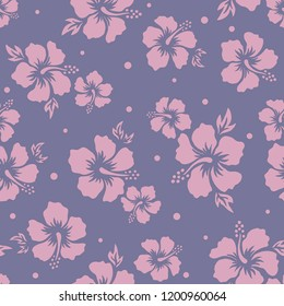 Tropical background with hibiscus flowers. Seamless hawaiian pattern. Exotic vector illustration