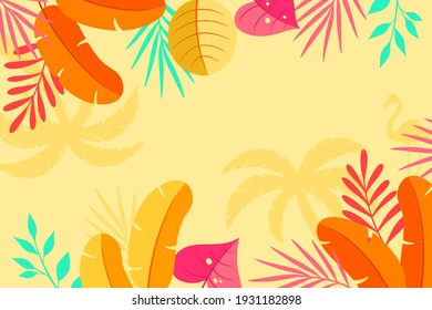Tropical background with jungle plants. Palm leaves. Floral exotic hawaiian wallpaper. Rainforest. Summer tropical leaf. Exotic hawaiian jungle, summertime style. Summer vector illustration.