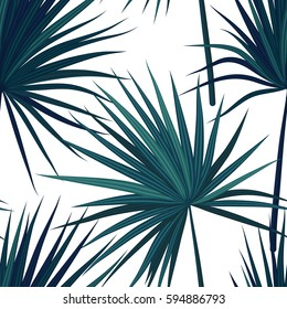 Tropical background with jungle plants. Seamless vector tropical pattern with green phoenix palm leaves. Vector illustration.