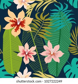 Tropical  background with palm and banana leaves and flowers. Seamless botanical pattern with aloha motifs. Trendy design for textile, cards and invitations.