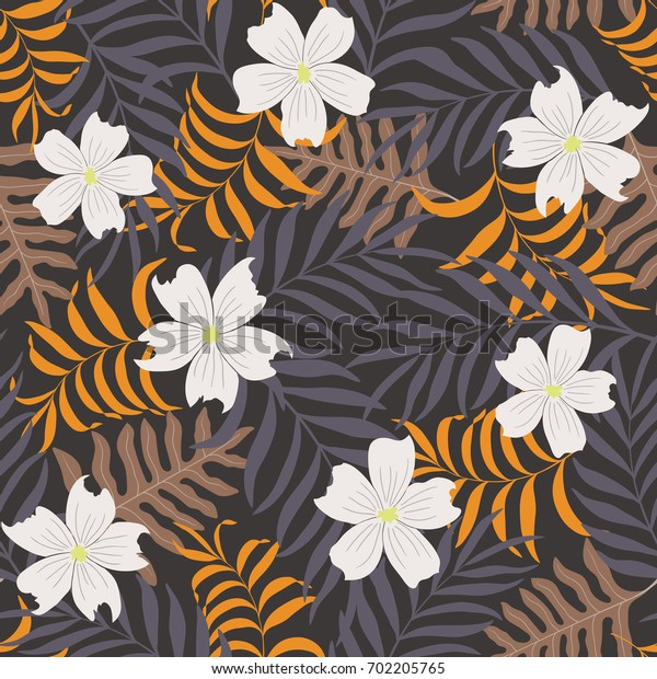 Tropical background with palm leaves and flowers. Seamless floral pattern