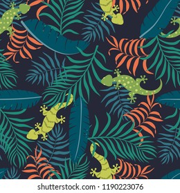 Tropical background with palm leaves and lizards. Seamless floral pattern. Exotic vector illustration. Flat jungle print