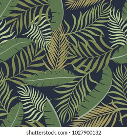 Tropical background with palm leaves. Seamless jungle floral pattern. Summer vector illustration