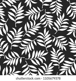 Tropical background with palm leaves. Seamless floral pattern. Summer vector illustration. Black and white