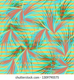 Tropical background - palm leaves seamless pattern.