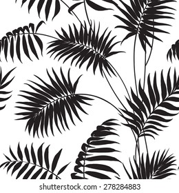 Tropical background. Palm trees and hibiscus. Vector illustration.
