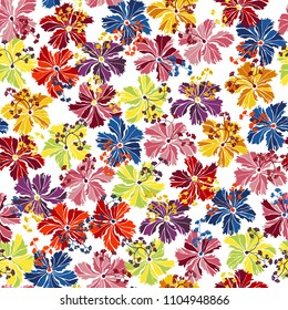 Tropical background. Seamless pattern colorful floral hibiscus