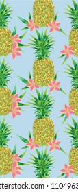 Tropical background. Seamless pattern colorful pineapples