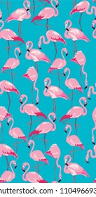 Tropical background. Seamless pattern colorful flamingo