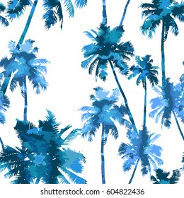 Tropical background seamless pattern of imitation of watercolor palms. vector illustration.