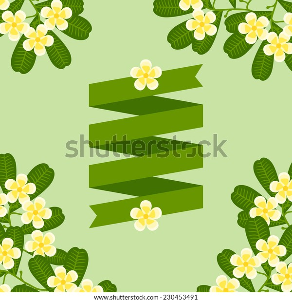 Tropical background with stylized plumeria flowers and ribbon.
