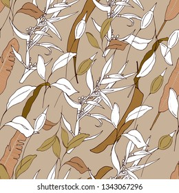 Tropical background of their green and contour plants. Light brown / beige texture for fabrics, tiles, paper and wallpaper