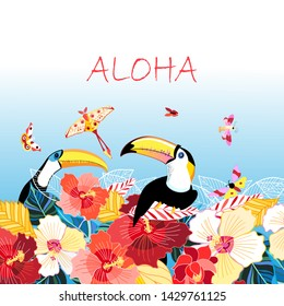 Tropical background with toucans and butterflies on a light background. Advertising example, relax, poster