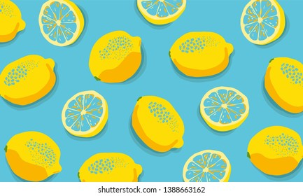 Tropical  background with yellow lemonsTropical seamless pattern with yellow lemons. Fruit repeated background. Vector bright print for fabric or wallpaper