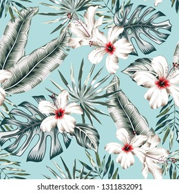 Tropical banana, monstera palm leaves, white hibiscus flowers, light blue background. Vector seamless pattern. Jungle foliage illustration. Exotic plants. Summer beach floral design. Paradise nature