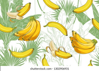 Tropical bananas palm trees with growing bunch, leaf, fruits, ripe cluster peeled, foliage texture seamless pattern. Nature background. Vector watercolor vintage illustration