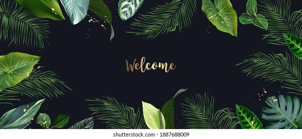 Tropical banner arranged from exotic emerald leaves and golden glitter. Paradise plants, greenery and palm card. Stylish fashion frame. Wedding design. All leaves are not cut. Isolated and editable
