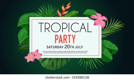 Tropical banner design template. Dark green theme with white frame. Palm, monstera leaves, troical exotic flowers. Best for invitations, flyers, party posters. Vector illustration.