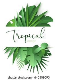 Tropical banner with green palm leaves on white background. Seasonal poster in trendy paper cut style. Design template for print or web. Vector illustration