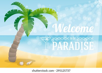Tropical banner with seashore, palm and welcome text.