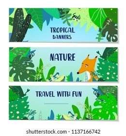 Tropical banners set with plants and animal. Vector graphic illustration