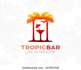 Tropical bar logo. Silhouette of palm trees, cocktail and beach. Concept for vacation, travel,  tourism business or spa, cafe and relax salon.
