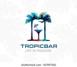 Tropical bar logo. Silhouette of palm trees, cocktail and night beach. Concept for vacation, travel,  tourism business or spa, cafe and relax salon.