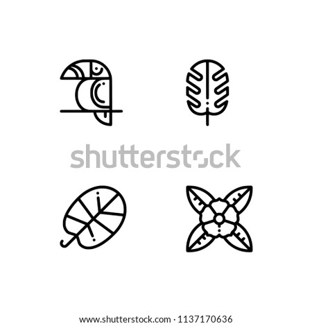 Tropical Beach Animals Food Set Outline Stock Vector