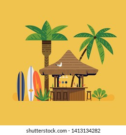 Tropical beach bar flat vector illustration. Beachfront surf resort concept design with cocktail bar, surf boards and palm trees