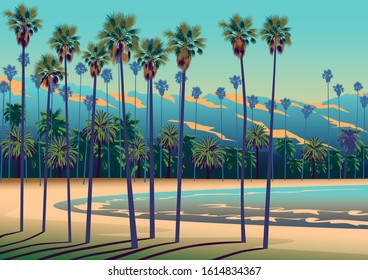 A Tropical beach in California with palm trees, ocean, and mountains in the background. Handmade drawing vector illustration.