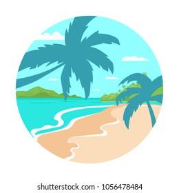 Tropical Beach Island Palm Tree Ocean Summer Vacation Concept Flat Vector Illustration