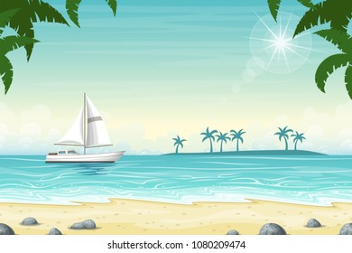 Tropical beach landscape summer background with boat