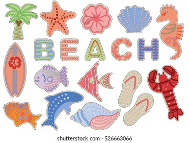 Tropical Beach and Ocean Cookie Illustrations