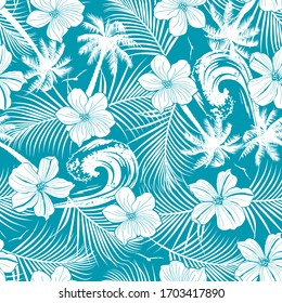 Tropical beach, palm and hibiscus seamless pattern